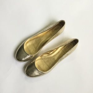 J. Crew Gold Crinkle Flats Ballet Shoes Round Toe